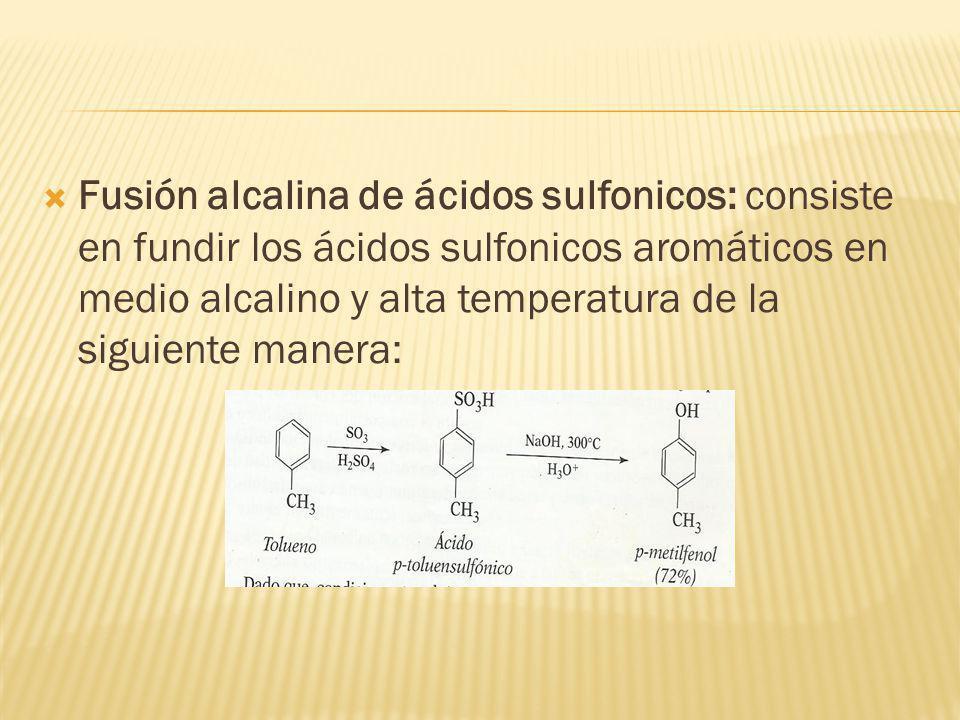 Fusión alcalina de ácidos sulfonicos: consiste en fundir los ácidos sulfonicos aromáticos en medio alcalino y alta temperatura de la siguiente manera: