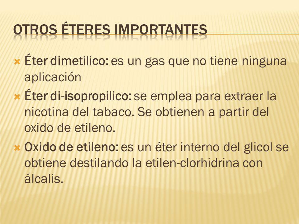 Éter dimetilico: es un gas que no tiene ninguna aplicación Éter di-isopropilico: se emplea para extraer la nicotina del tabaco. Se obtienen a partir d