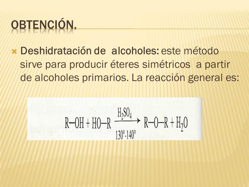 Deshidratación de alcoholes: este método sirve para producir éteres simétricos a partir de alcoholes primarios. La reacción general es: