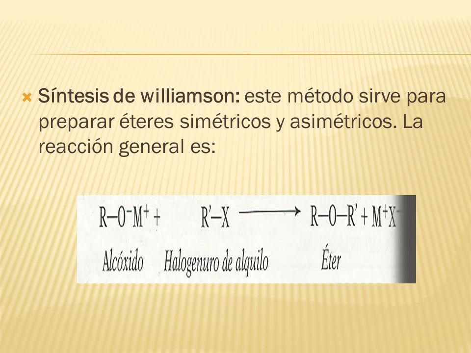 Síntesis de williamson: este método sirve para preparar éteres simétricos y asimétricos. La reacción general es: