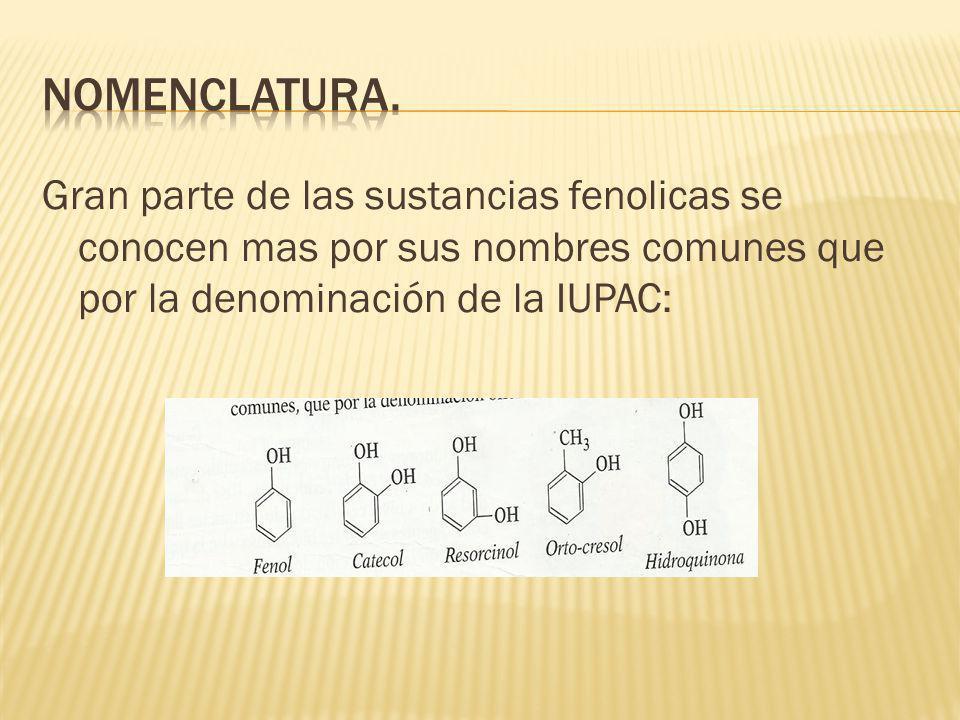 Gran parte de las sustancias fenolicas se conocen mas por sus nombres comunes que por la denominación de la IUPAC: