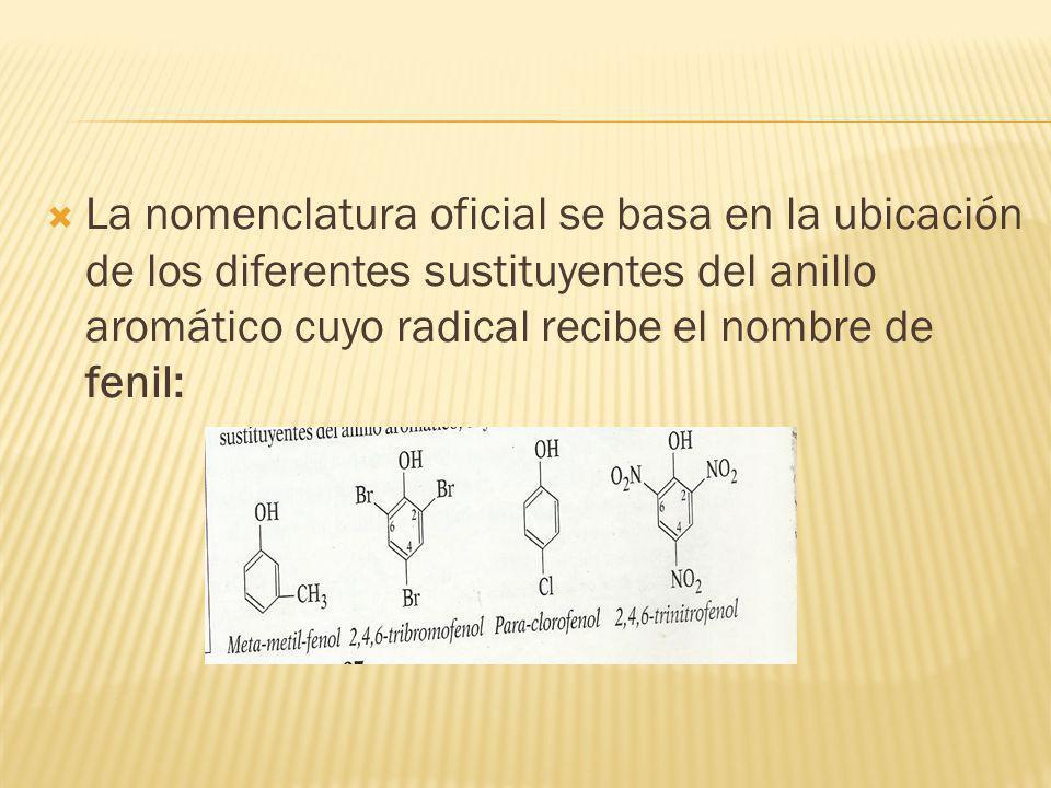 La nomenclatura oficial se basa en la ubicación de los diferentes sustituyentes del anillo aromático cuyo radical recibe el nombre de fenil: