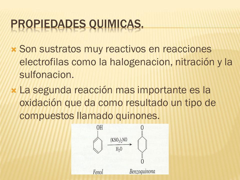 Son sustratos muy reactivos en reacciones electrofilas como la halogenacion, nitración y la sulfonacion. La segunda reacción mas importante es la oxid