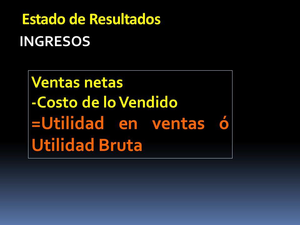 Estado de Resultados INGRESOS Ventas netas -Costo de lo Vendido =Utilidad en ventas ó Utilidad Bruta