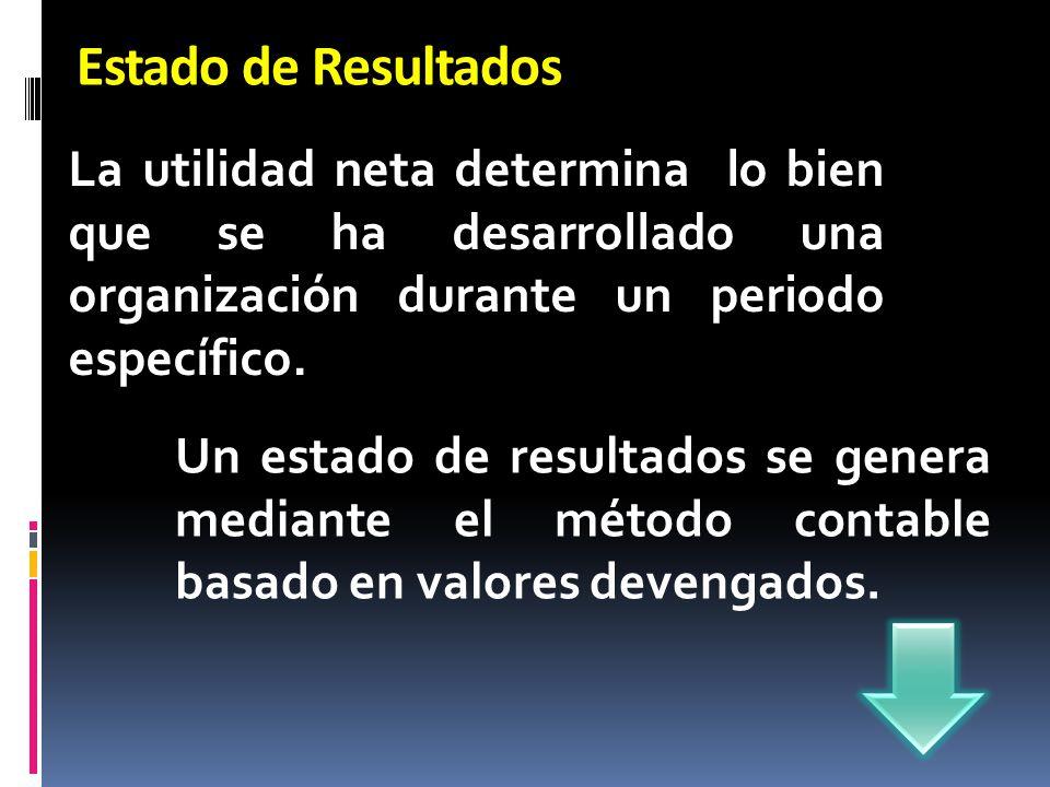 Estado de Resultados La utilidad neta determina lo bien que se ha desarrollado una organización durante un periodo específico. Un estado de resultados
