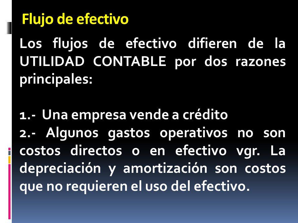 Flujo de efectivo Los flujos de efectivo difieren de la UTILIDAD CONTABLE por dos razones principales: 1.- Una empresa vende a crédito 2.- Algunos gas