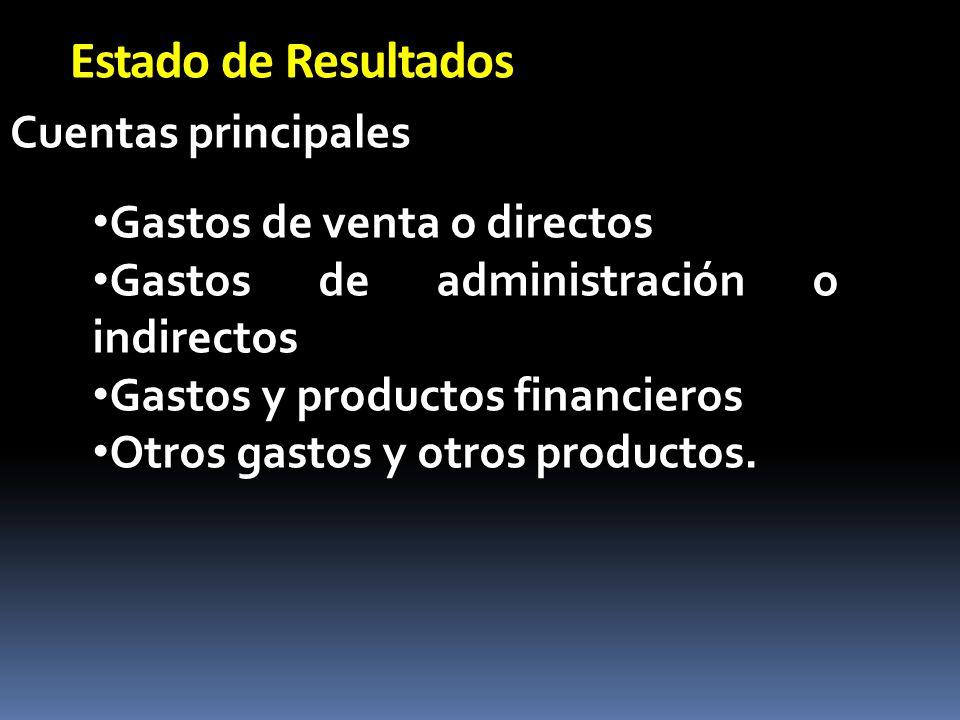 Estado de Resultados Cuentas principales Gastos de venta o directos Gastos de administración o indirectos Gastos y productos financieros Otros gastos