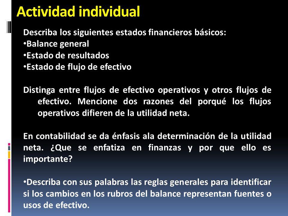 Actividad individual Describa los siguientes estados financieros básicos: Balance general Estado de resultados Estado de flujo de efectivo Distinga en