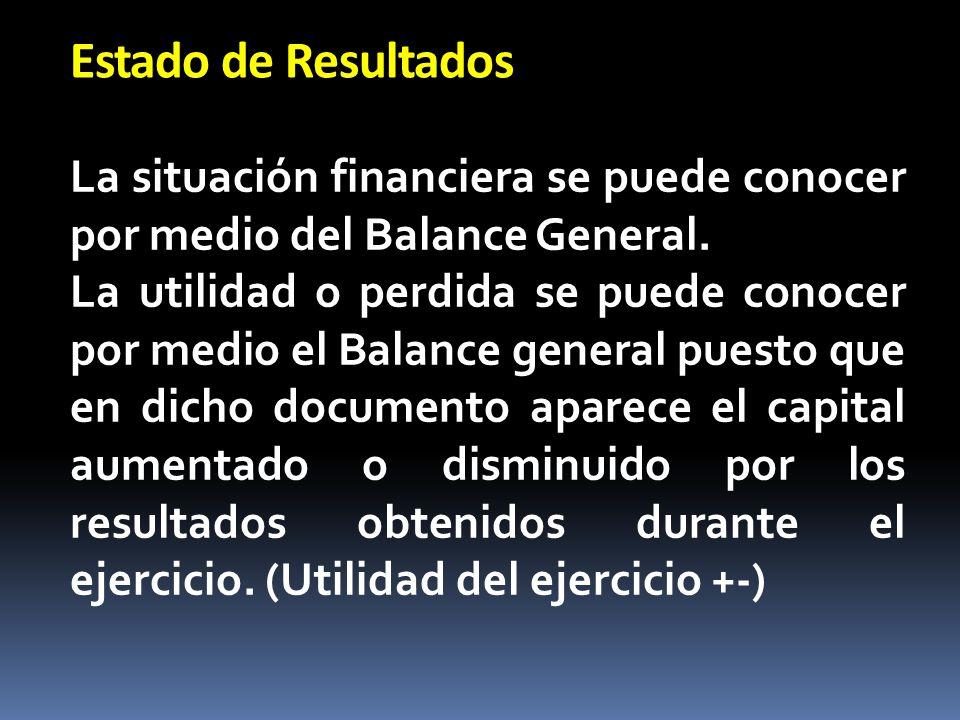 Estado de Resultados La situación financiera se puede conocer por medio del Balance General. La utilidad o perdida se puede conocer por medio el Balan