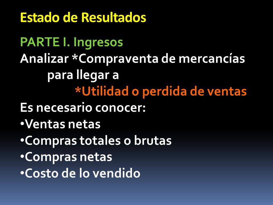Estado de Resultados INGRESOS Ventas Totales -Devoluciones sobre ventas -Descuentos sobre ventas =Ventas Netas