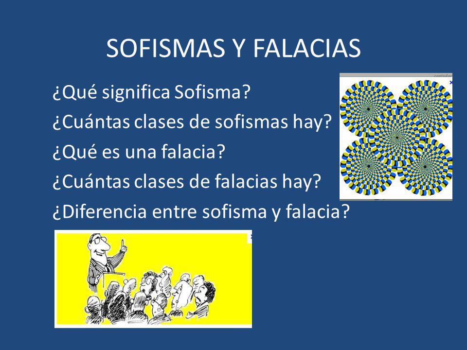 SOFISMAS Y FALACIAS ¿Qué significa Sofisma.¿Cuántas clases de sofismas hay.