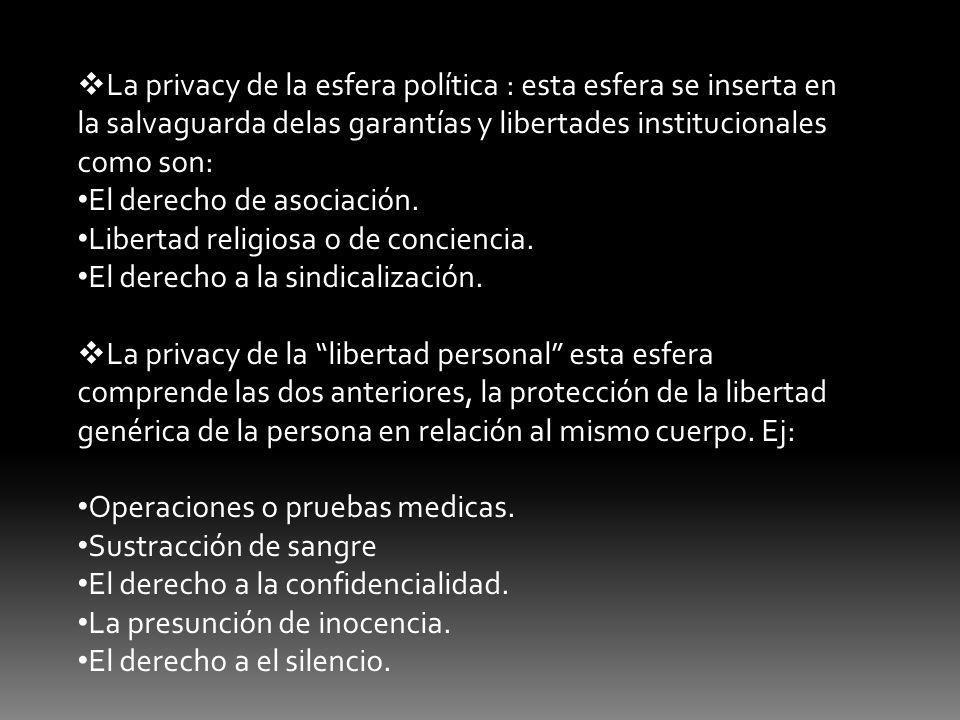 La privacy de la esfera política : esta esfera se inserta en la salvaguarda delas garantías y libertades institucionales como son: El derecho de asociación.