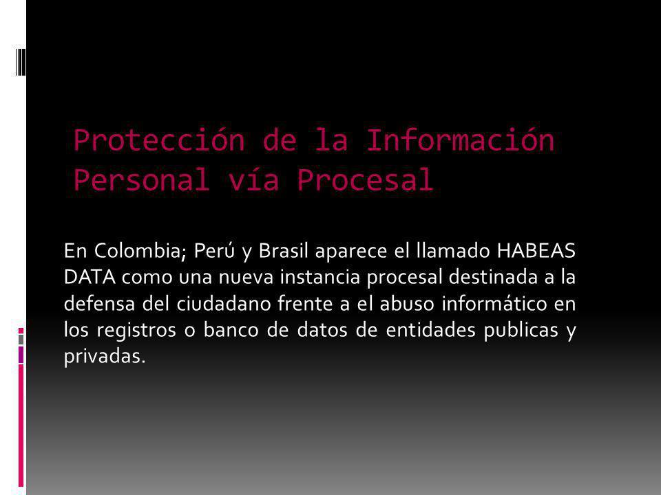 Protección de la Información Personal vía Procesal En Colombia; Perú y Brasil aparece el llamado HABEAS DATA como una nueva instancia procesal destinada a la defensa del ciudadano frente a el abuso informático en los registros o banco de datos de entidades publicas y privadas.
