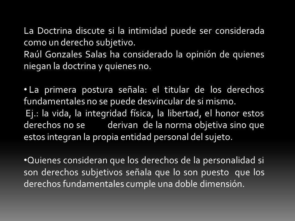 La Doctrina discute si la intimidad puede ser considerada como un derecho subjetivo. Raúl Gonzales Salas ha considerado la opinión de quienes niegan l