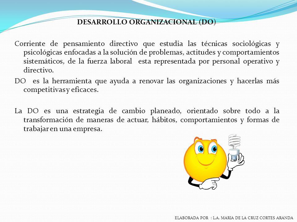 DESARROLLO ORGANIZACIONAL Un esfuerzo planeado, que sistematiza a la organización, administrando desde la alta dirección que incrementa la efectividad y la salud de la organización, mediante la intervención deliberada en los procesos de la organización utilizando el conocimiento de las ciencias de la conducta.