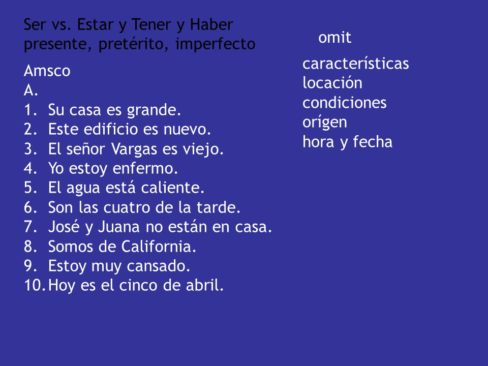 Ser vs.Estar y Tener y Haber presente, pretérito, imperfecto Amsco A.