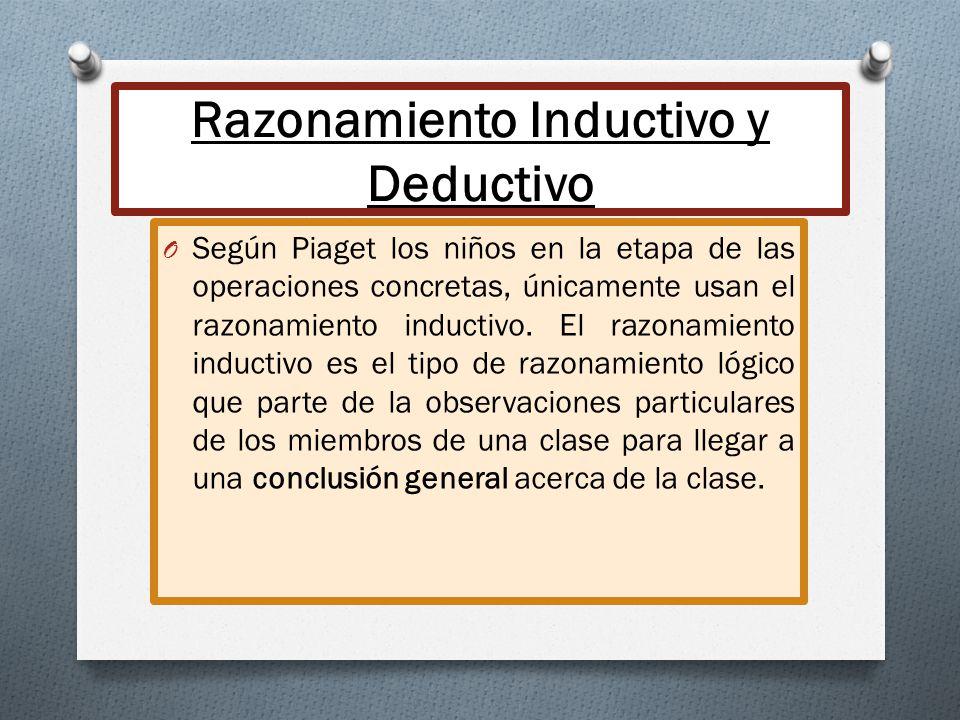 Razonamiento Inductivo y Deductivo O Según Piaget los niños en la etapa de las operaciones concretas, únicamente usan el razonamiento inductivo. El ra