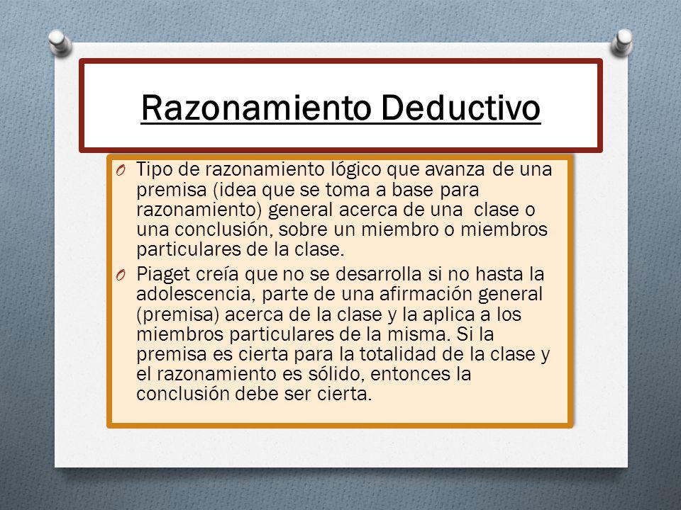Razonamiento Deductivo O Tipo de razonamiento lógico que avanza de una premisa (idea que se toma a base para razonamiento) general acerca de una clase