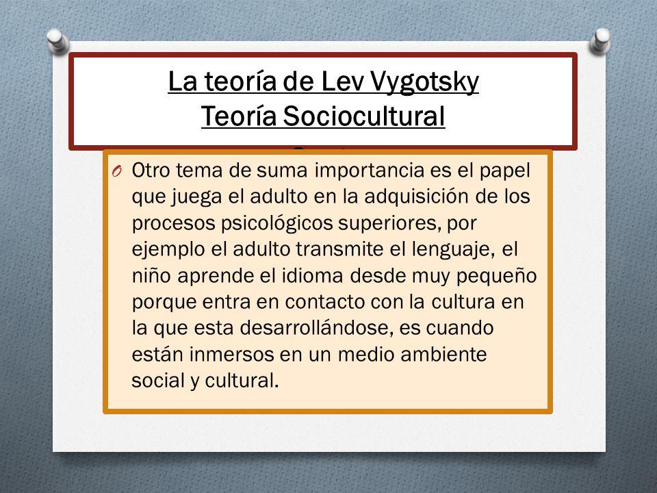 La teoría de Lev Vygotsky Teoría Sociocultural Cont. O Otro tema de suma importancia es el papel que juega el adulto en la adquisición de los procesos