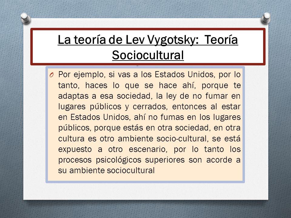 La teoría de Lev Vygotsky: Teoría Sociocultural Cont. O Por ejemplo, si vas a los Estados Unidos, por lo tanto, haces lo que se hace ahí, porque te ad