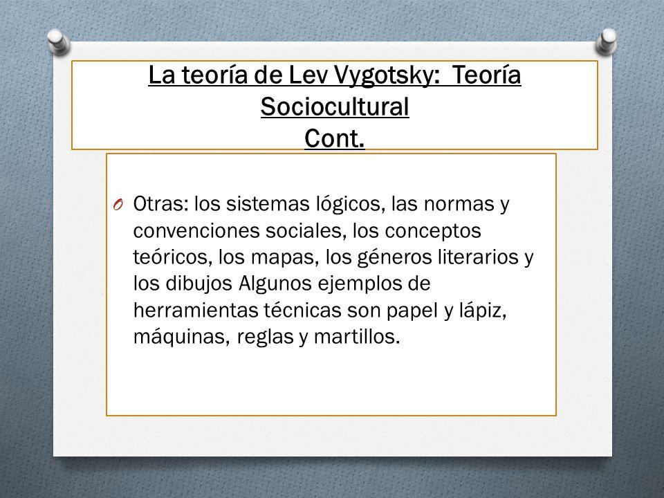 La teoría de Lev Vygotsky: Teoría Sociocultural Cont. O Otras: los sistemas lógicos, las normas y convenciones sociales, los conceptos teóricos, los m