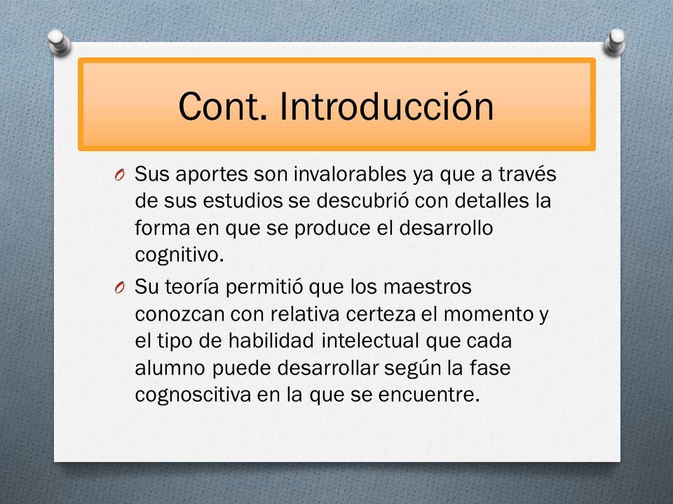 Cont. Introducción O Sus aportes son invalorables ya que a través de sus estudios se descubrió con detalles la forma en que se produce el desarrollo c