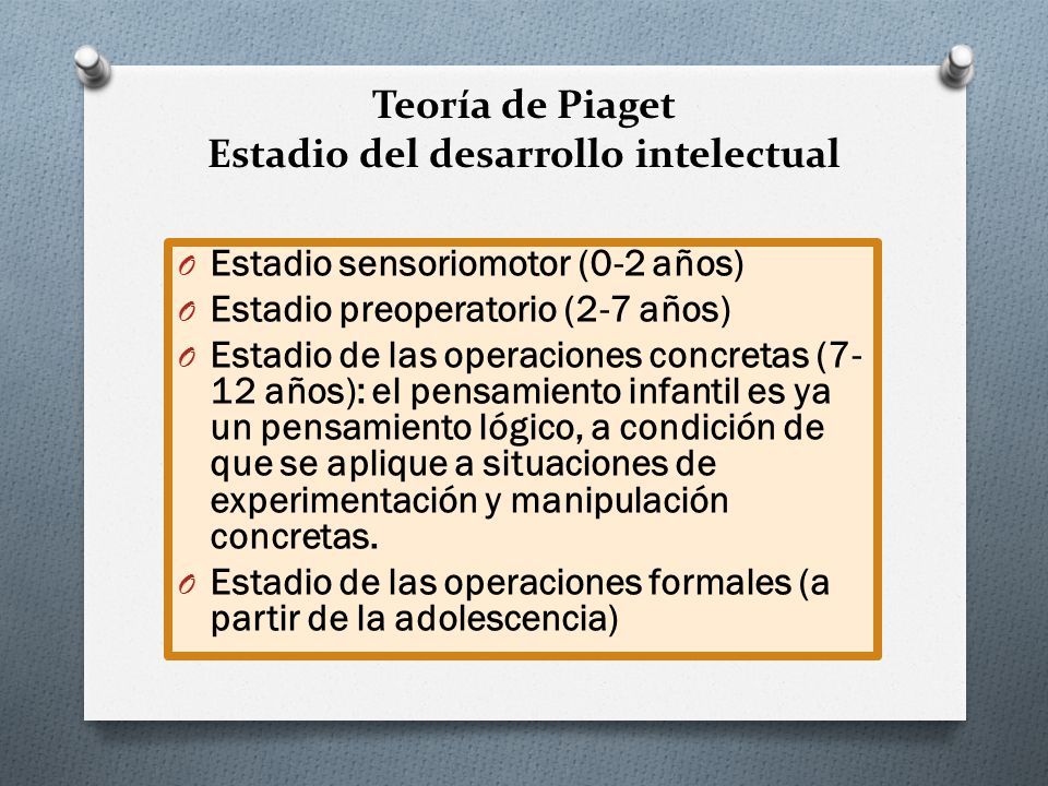 Teoría de Piaget Estadio del desarrollo intelectual O Estadio sensoriomotor (0-2 años) O Estadio preoperatorio (2-7 años) O Estadio de las operaciones