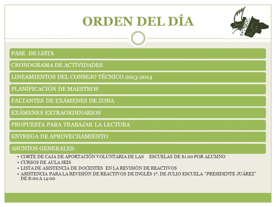 ORDEN DEL DÍA PASE DE LISTACRONOGRAMA DE ACTIVIDADESLINEAMIENTOS DEL CONSEJO TÉCNICO 2013-2014PLANIFICACIÓN DE MAESTROSFALTANTES DE EXÁMENES DE ZONAEX
