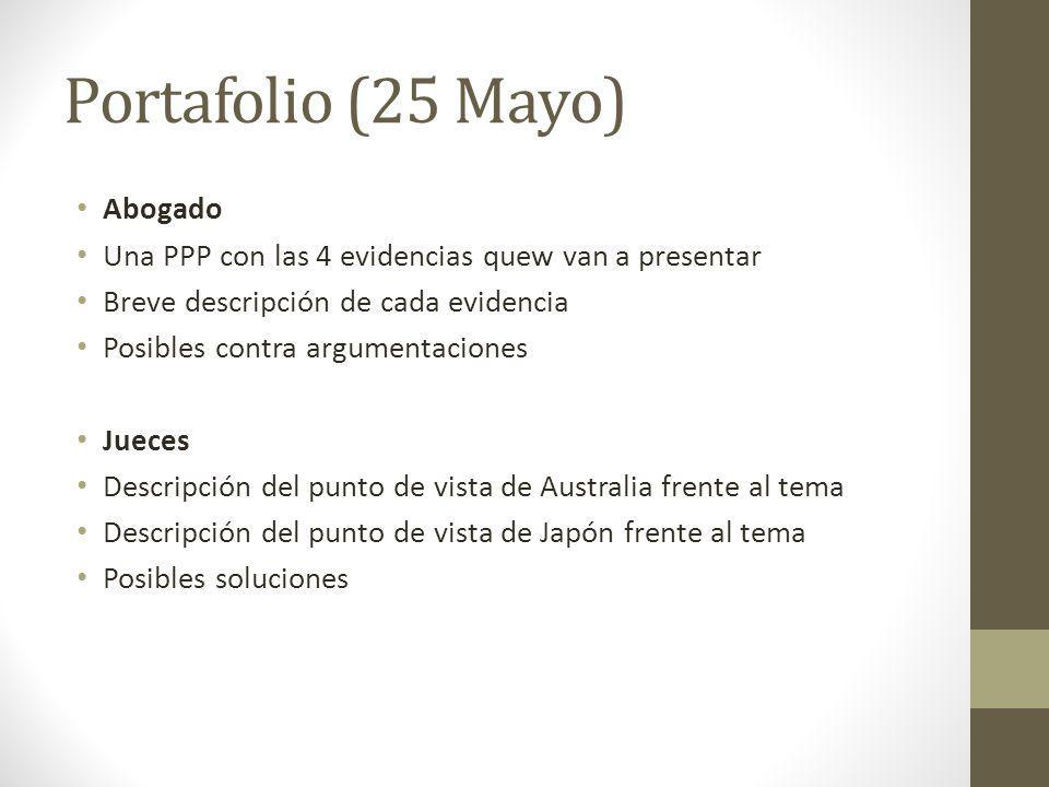 Portafolio (25 Mayo) Abogado Una PPP con las 4 evidencias quew van a presentar Breve descripción de cada evidencia Posibles contra argumentaciones Jue