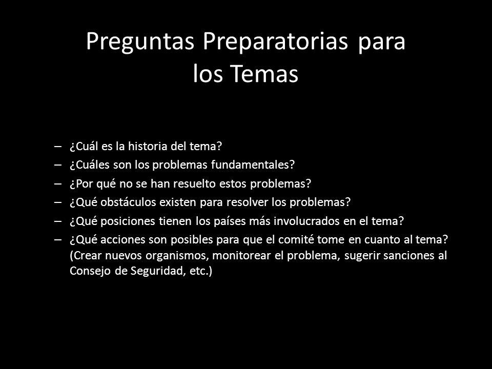 Preguntas Preparatorias para los Temas – ¿Cuál es la historia del tema? – ¿Cuáles son los problemas fundamentales? – ¿Por qué no se han resuelto estos