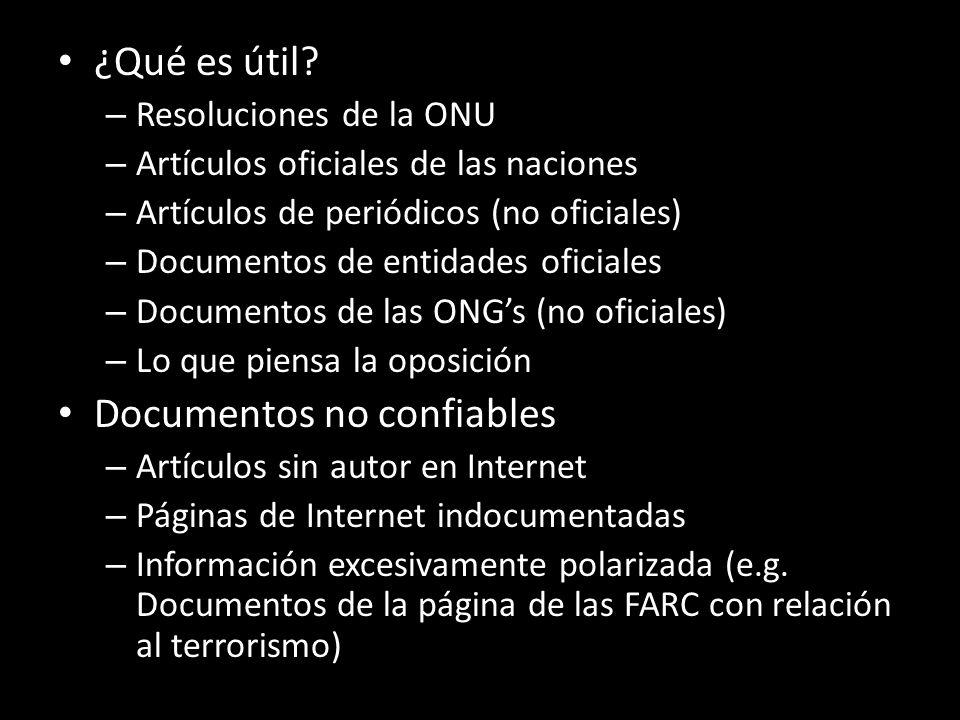 ¿Qué es útil? – Resoluciones de la ONU – Artículos oficiales de las naciones – Artículos de periódicos (no oficiales) – Documentos de entidades oficia