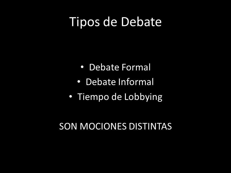 Tipos de Debate Debate Formal Debate Informal Tiempo de Lobbying SON MOCIONES DISTINTAS