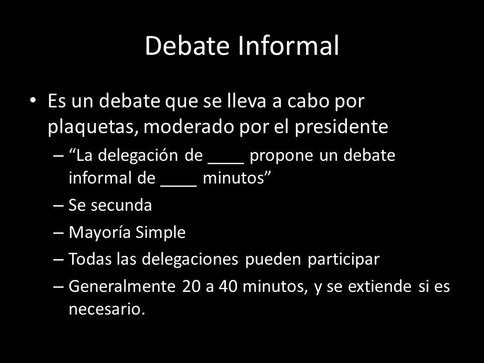 Debate Informal Es un debate que se lleva a cabo por plaquetas, moderado por el presidente – La delegación de ____ propone un debate informal de ____