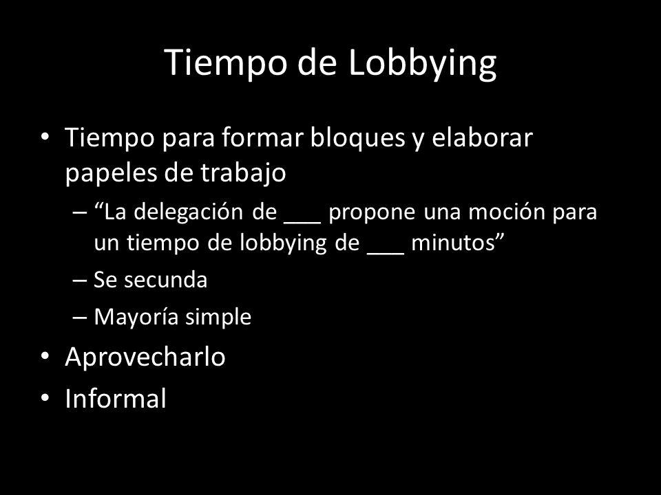 Tiempo de Lobbying Tiempo para formar bloques y elaborar papeles de trabajo – La delegación de ___ propone una moción para un tiempo de lobbying de __