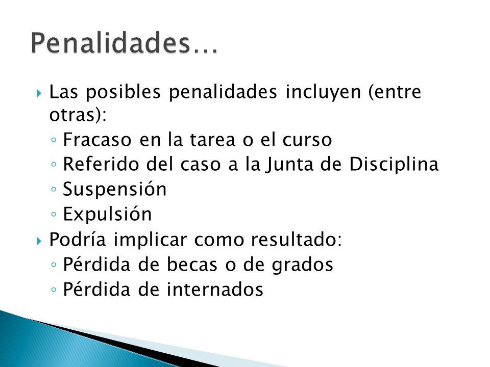 Las posibles penalidades incluyen (entre otras): Fracaso en la tarea o el curso Referido del caso a la Junta de Disciplina Suspensión Expulsión Podría
