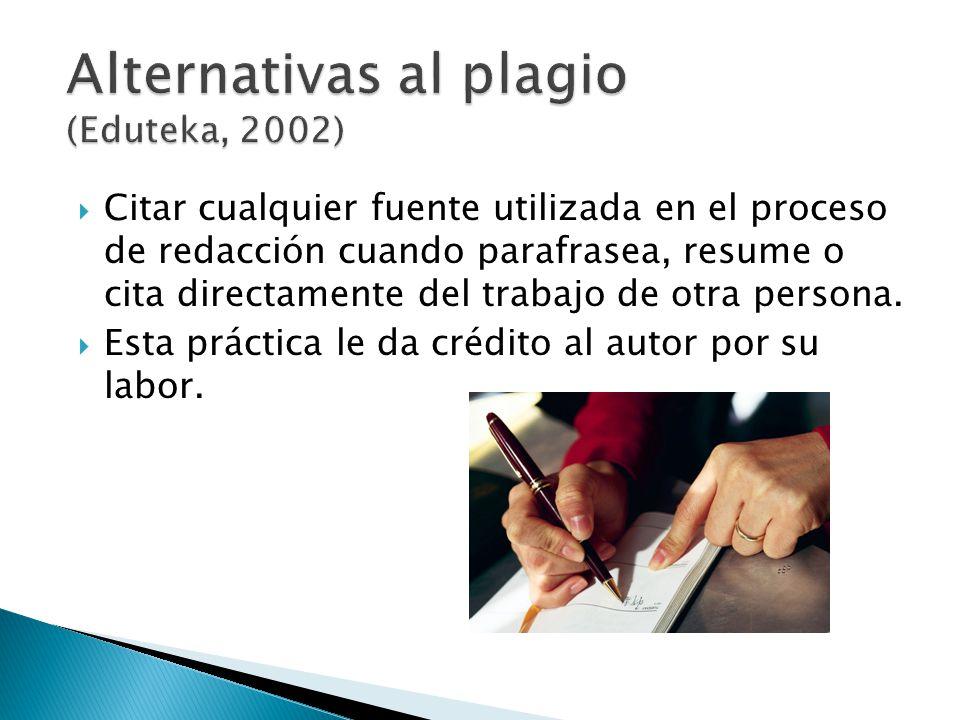 Citar cualquier fuente utilizada en el proceso de redacción cuando parafrasea, resume o cita directamente del trabajo de otra persona. Esta práctica l