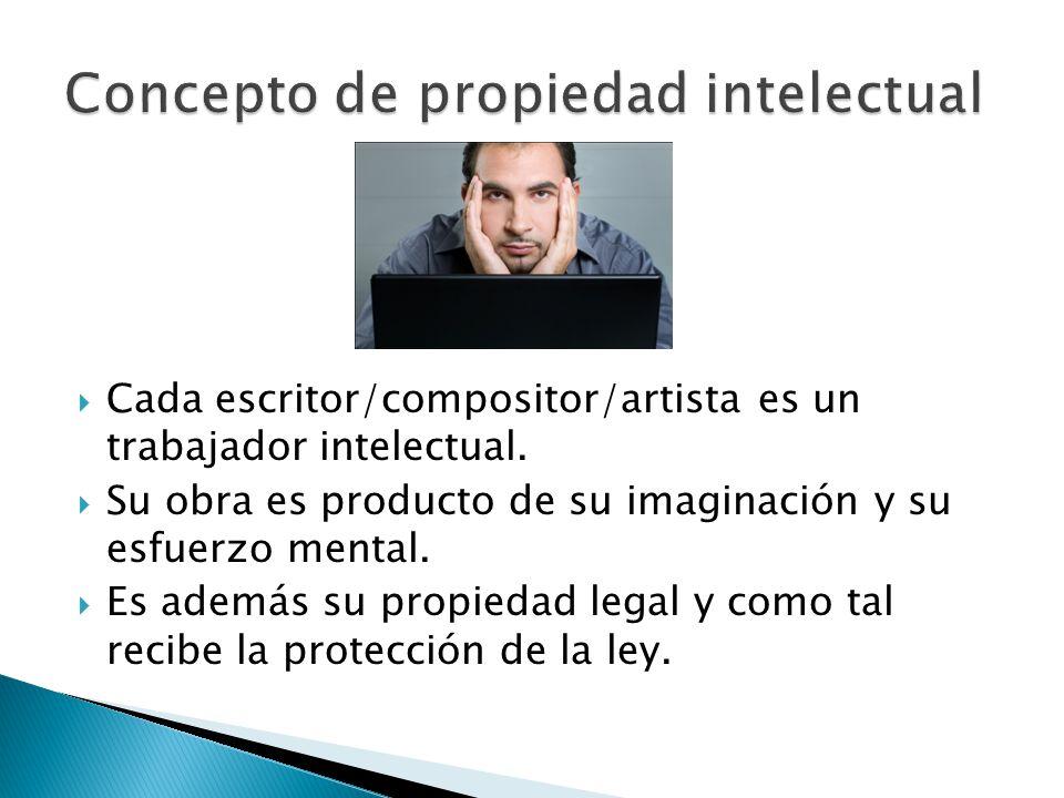 Cada escritor/compositor/artista es un trabajador intelectual. Su obra es producto de su imaginación y su esfuerzo mental. Es además su propiedad lega