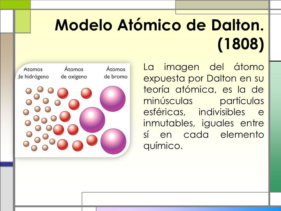 Modelo Atómico de Dalton. (1808) La imagen del átomo expuesta por Dalton en su teoría atómica, es la de minúsculas partículas esféricas, indivisibles
