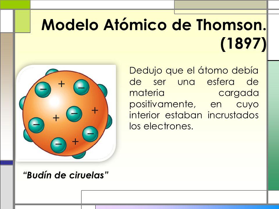 Modelo Atómico de Thomson. (1897) Dedujo que el átomo debía de ser una esfera de materia cargada positivamente, en cuyo interior estaban incrustados l