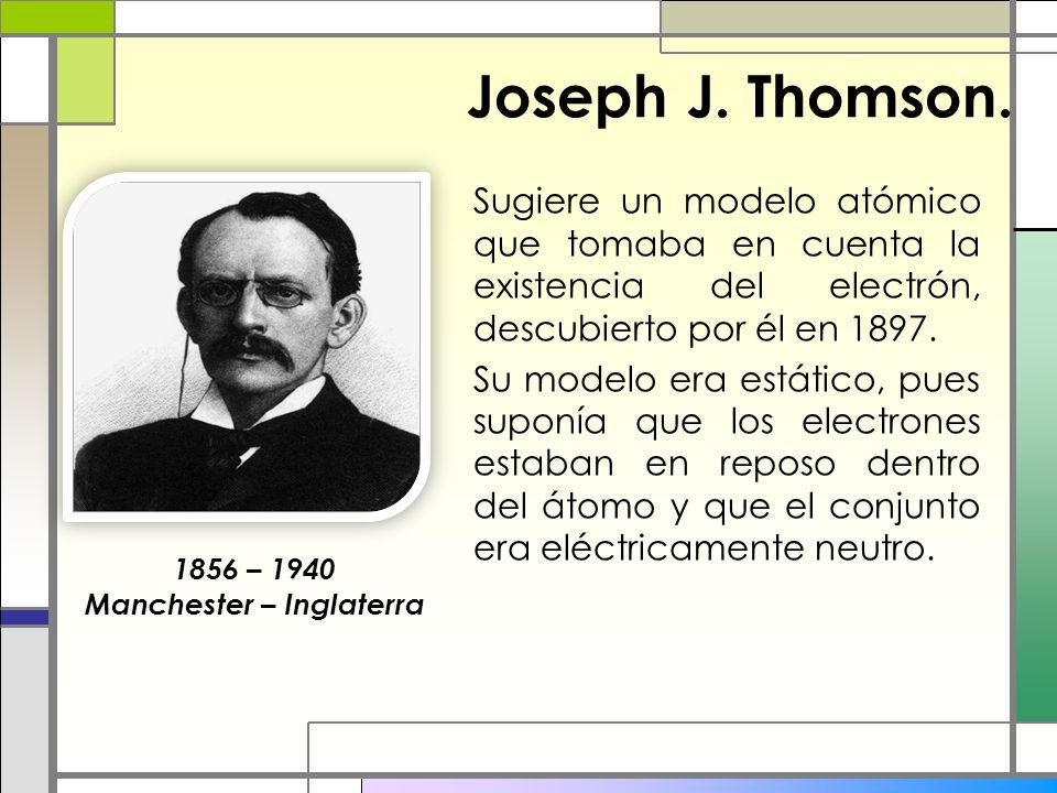 Joseph J. Thomson. Sugiere un modelo atómico que tomaba en cuenta la existencia del electrón, descubierto por él en 1897. Su modelo era estático, pues