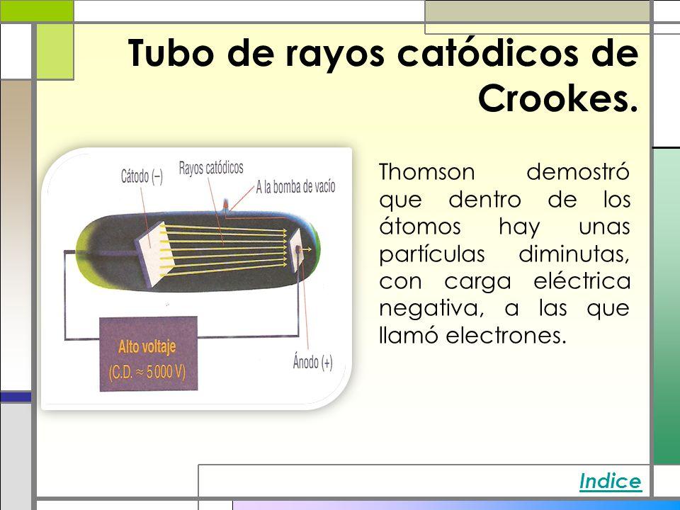 Tubo de rayos catódicos de Crookes. Thomson demostró que dentro de los átomos hay unas partículas diminutas, con carga eléctrica negativa, a las que l