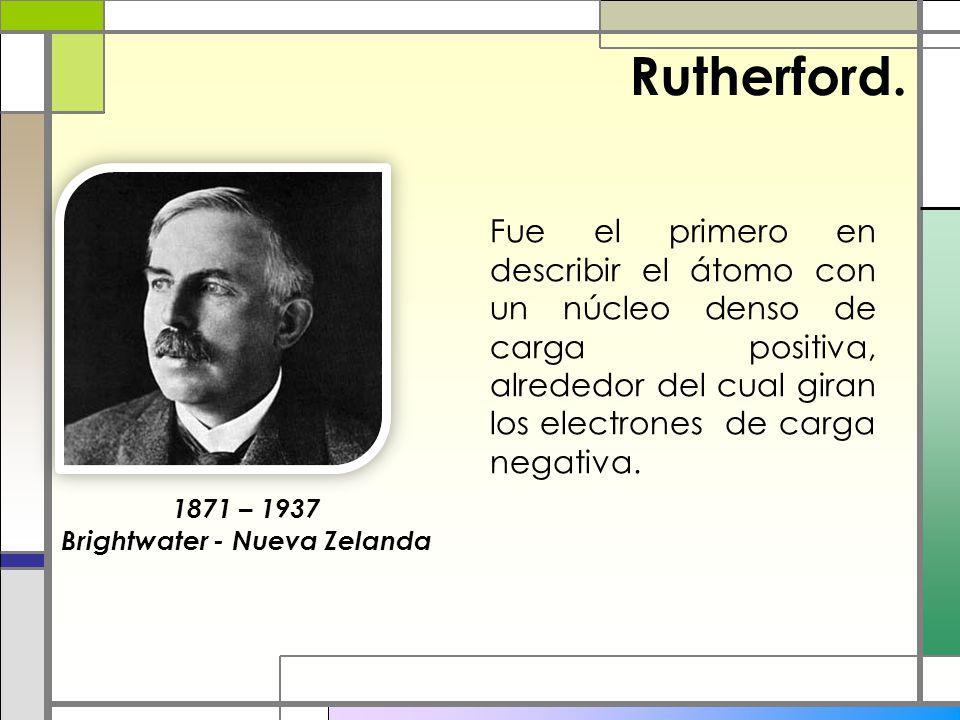 Rutherford. Fue el primero en describir el átomo con un núcleo denso de carga positiva, alrededor del cual giran los electrones de carga negativa. 187
