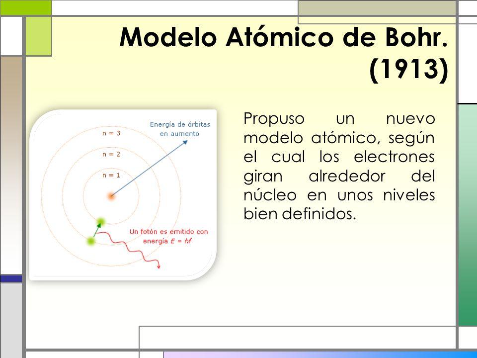 Modelo Atómico de Bohr. (1913) Propuso un nuevo modelo atómico, según el cual los electrones giran alrededor del núcleo en unos niveles bien definidos