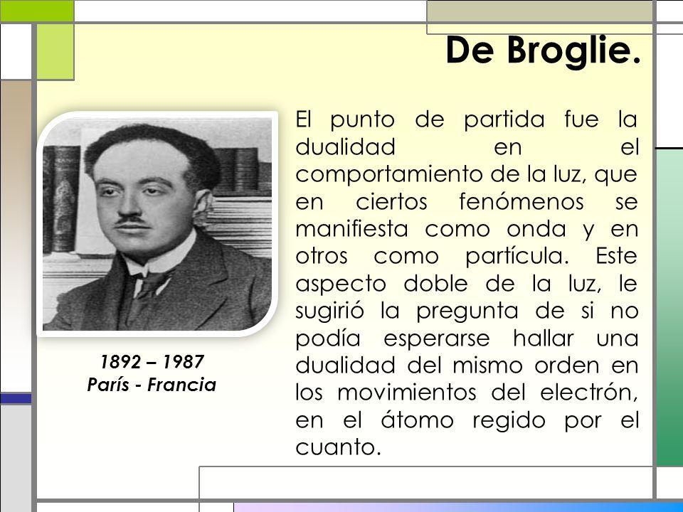 De Broglie. El punto de partida fue la dualidad en el comportamiento de la luz, que en ciertos fenómenos se manifiesta como onda y en otros como partí