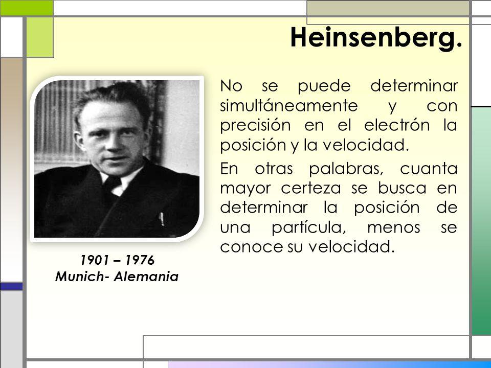 Heinsenberg. No se puede determinar simultáneamente y con precisión en el electrón la posición y la velocidad. En otras palabras, cuanta mayor certeza