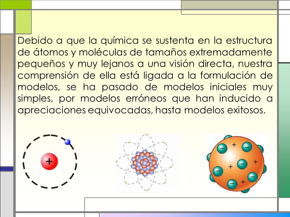Debido a que la química se sustenta en la estructura de átomos y moléculas de tamaños extremadamente pequeños y muy lejanos a una visión directa, nues