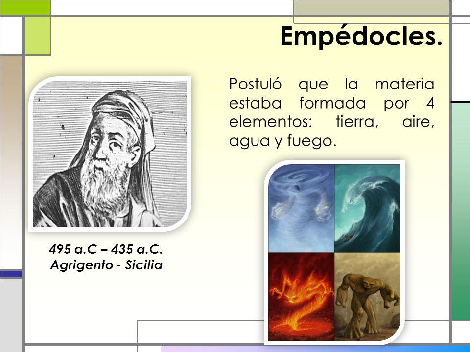 Empédocles. Postuló que la materia estaba formada por 4 elementos: tierra, aire, agua y fuego. 495 a.C – 435 a.C. Agrigento - Sicilia