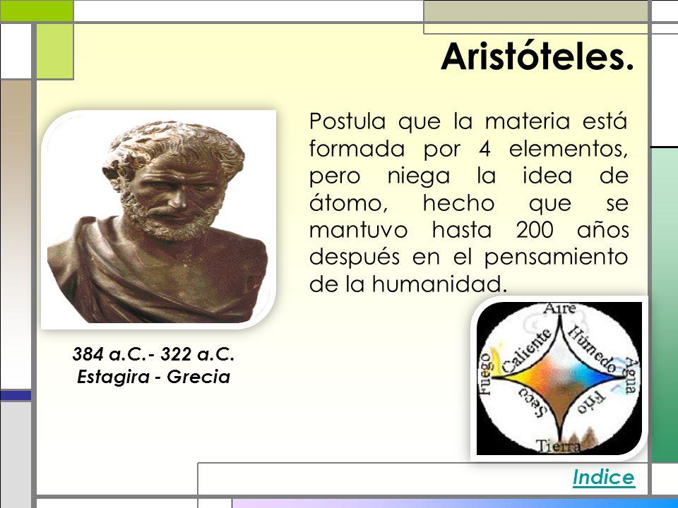 Aristóteles. Postula que la materia está formada por 4 elementos, pero niega la idea de átomo, hecho que se mantuvo hasta 200 años después en el pensa