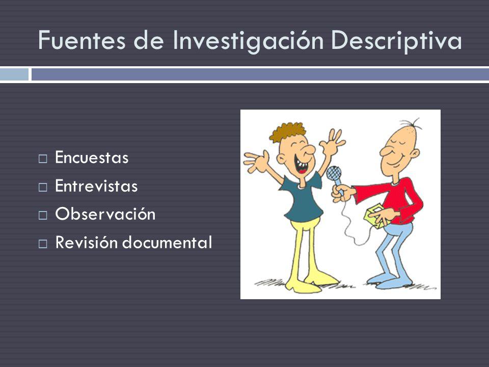 Fuentes de Investigación Descriptiva Encuestas Entrevistas Observación Revisión documental