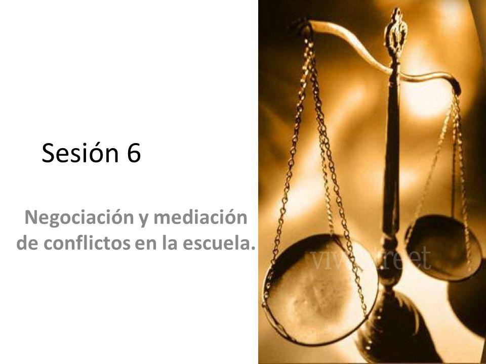 Sesión 6 Negociación y mediación de conflictos en la escuela.